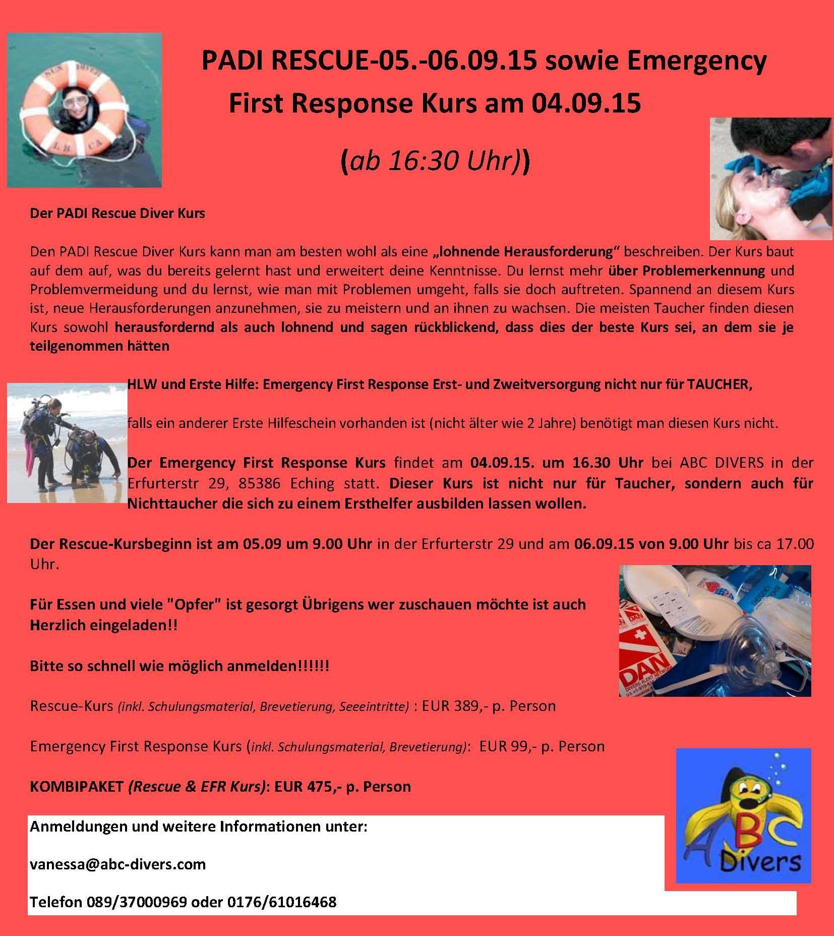 Rescue Kurs WOCHENENDKURS 2015